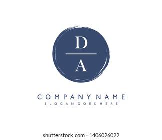 initials letter DA handwriting logo vector template