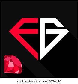 initials letter E & G in diamond shape