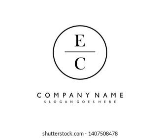 initials letter EC handwriting logo vector template