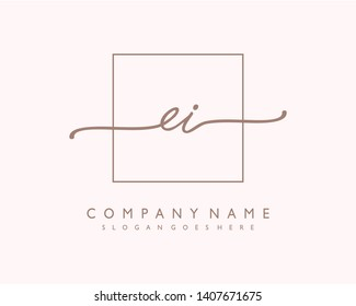 initials letter EI handwriting logo vector template