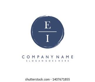 initials letter EI handwriting logo vector template