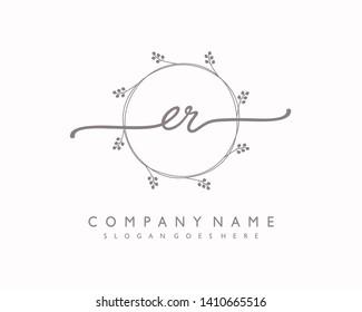 initials letter ER handwriting logo vector template