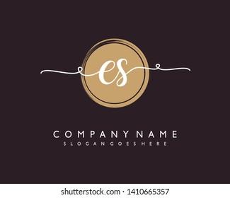 initials letter ES handwriting logo vector template