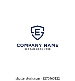 Initials Letter ES or SE linked overlapping Logo vector with letter E in the middle center of letter S badge-shape icon in blue deep color illustration