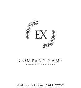 initials letter EX handwriting logo vector template