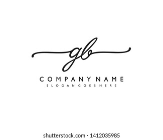 initials letter GB handwriting logo vector template
