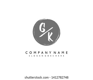 initials letter GK handwriting logo vector template