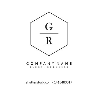 initials letter GR handwriting logo vector template