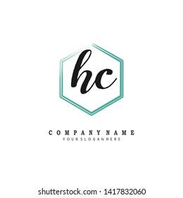 initials letter HC handwriting logo vector template