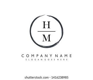 initials letter HM handwriting logo vector template