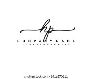 initials letter HP handwriting logo vector template