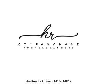 initials letter HR handwriting logo vector template
