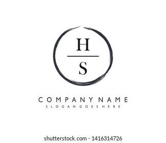 initials letter HS handwriting logo vector template