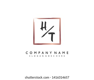 initials letter HT handwriting logo vector template