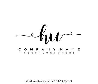 initials letter HU handwriting logo vector template