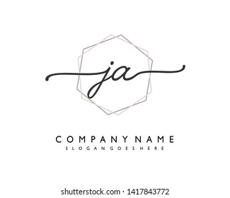initials letter JA handwriting logo vector template