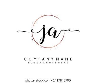 initials letter JA handwriting logo vector template