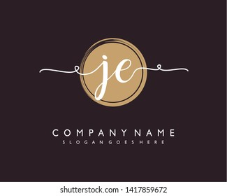 initials letter JE handwriting logo vector template