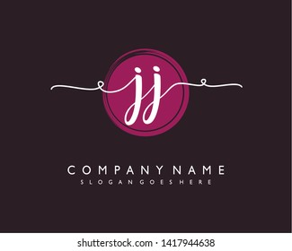 initials letter JJ handwriting logo vector template