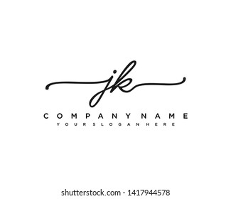 initials letter JK handwriting logo vector template