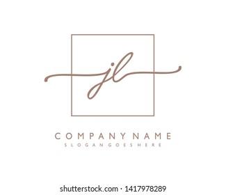 initials letter JL handwriting logo vector template