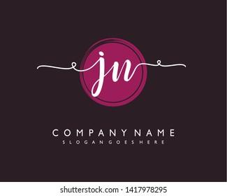 initials letter JN handwriting logo vector template