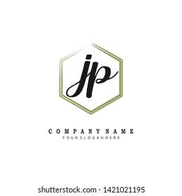 initials letter JP handwriting logo vector template