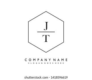 initials letter JT handwriting logo vector template