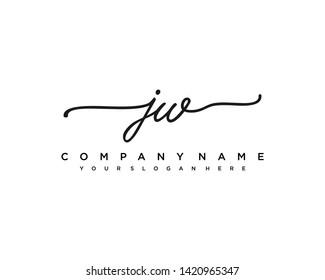 initials letter JW handwriting logo vector template
