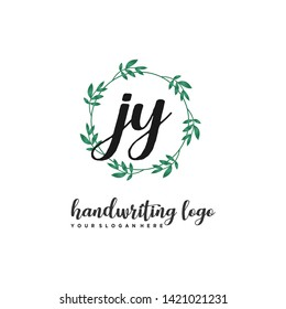 initials letter JY handwriting logo vector template