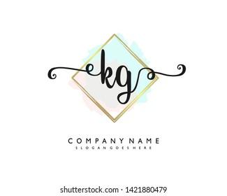 initials letter KG handwriting logo vector template