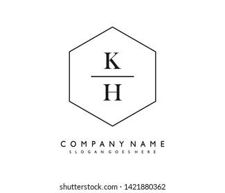 initials letter KH handwriting logo vector template
