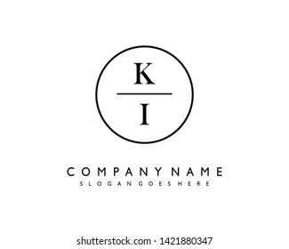 initials letter KI handwriting logo vector template
