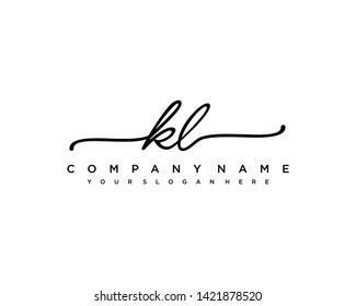 initials letter KL handwriting logo vector template