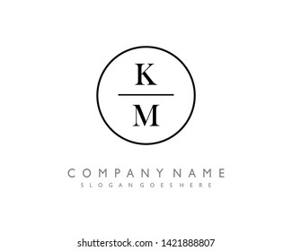 initials letter KM handwriting logo vector template