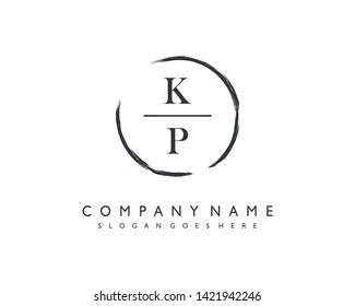 initials letter KP handwriting logo vector template