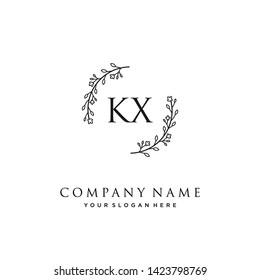 initials letter KX handwriting logo vector template