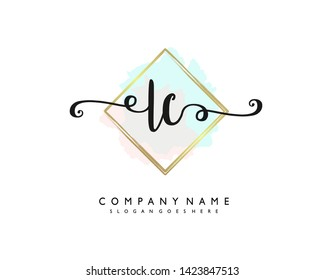 initials letter LC handwriting logo vector template