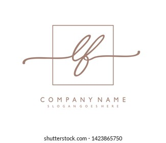 initials letter LF handwriting logo vector template