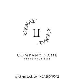 initials letter LI handwriting logo vector template