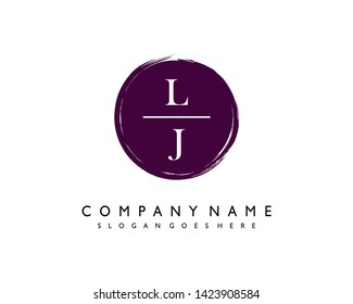 initials letter LJ handwriting logo vector template