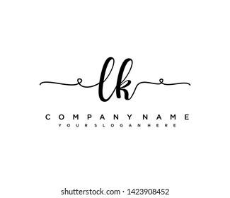 initials letter LK handwriting logo vector template