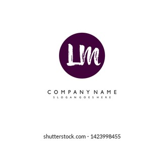 initials letter LM handwriting logo vector template