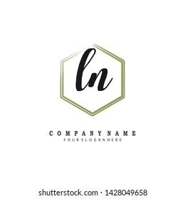 initials letter LN handwriting logo vector template