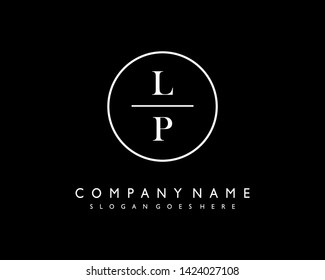 initials letter LP handwriting logo vector template