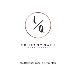 initials letter LQ handwriting logo vector template