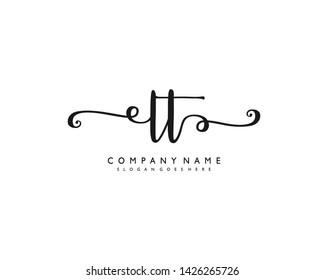 initials letter LT handwriting logo vector template