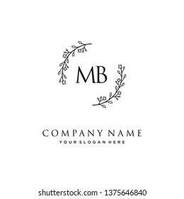 initials letter MB handwriting logo vector template