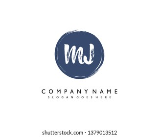 initials letter MJ handwriting logo vector template