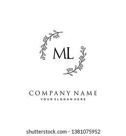 initials letter ML handwriting logo vector template